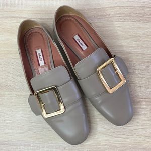 Bally Janelle Taupe Gold Square Buckle Loafers
